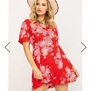 """FREE PEOPLE Red """"Blue Hawaii"""" Floral Mini Dress!"""
